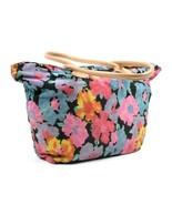 Vintage 1990s Floral Canvas Tote Bag Satchel Shoulder Purse Shoulder Ret... - $24.74