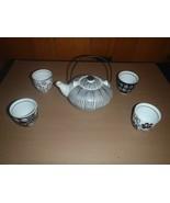 6 Piece Set Pier 1 Imports Akina Tea Set Black White Porcelain  - $23.36