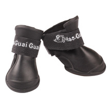 (black size M)4PCS/set Lovely Dog Shoes Puppy Candy Colors Rubber Boots ... - $16.00