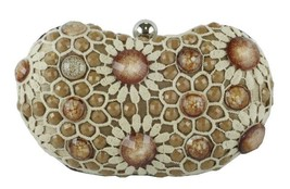 Sondra Roberts Sophisticated Crochet Jewel Beaded Rich Bronze Evening Clutch - $49.90
