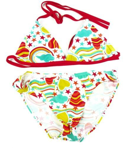 Size 16 Girl's KIWI Swim Bikini Swimsuit 2-piece Fun Hearts & Stars Bathing Suit