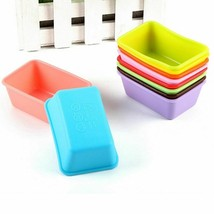 Rectangle Silicone Muffin Cups Mini Loaf Bread Pan Cupcake Pudding 10 Pc... - $15.59