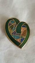"VINTAGE UNSIGNED 1""ARTSY ENAMELED GEOMETRIC HEART BROOCH LAPEL PIN, GREE... - $5.93"