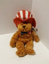 American Patriotic Plush Bear with Hat And Bow Tie Cystic Fibrosis Found... - $8.60