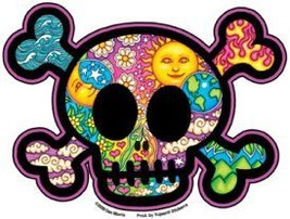 Small Mosaic Skull an Crossbones  Vinyl  Sticker   Hippie - $3.29