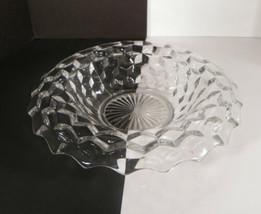 Fostoria AMERICAN Rolled Edge Centerpiece Center Fruit Bowl Clear Cube M... - $29.65
