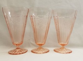 3 Mayfair Open Rose Pink Depression Glass Footed Iced Tea Glasses Anchor... - $28.01