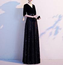 Women Half Sleeve Velvet Maxi Dress High Waist Formal Dress, Black, Plus Size image 11