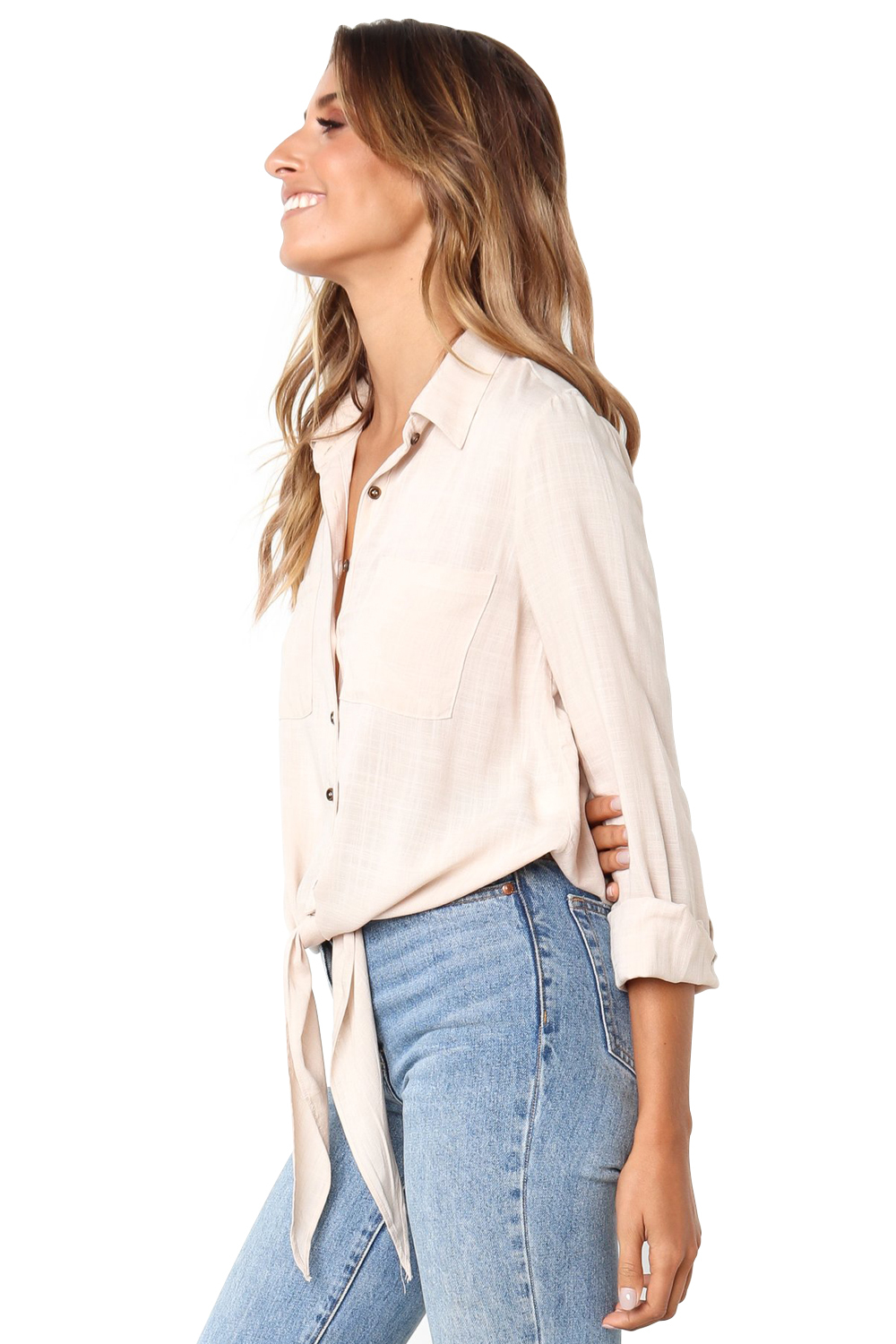 Apricot Crushed Linen Button-Down Casual Shirt  image 3