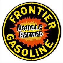 Frontier Gasoline Reproduction Garage Shop Metal Sign 18x18 Round - $46.53