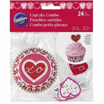 Heartfelt Confections Cupcake Combo Kit 24 Baking Liners Picks Valentines Heart - $3.26