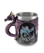 Purple Gothic Dragon Tankard Celtic Knot Work Mug w/Stainless Steel Insert - $19.97
