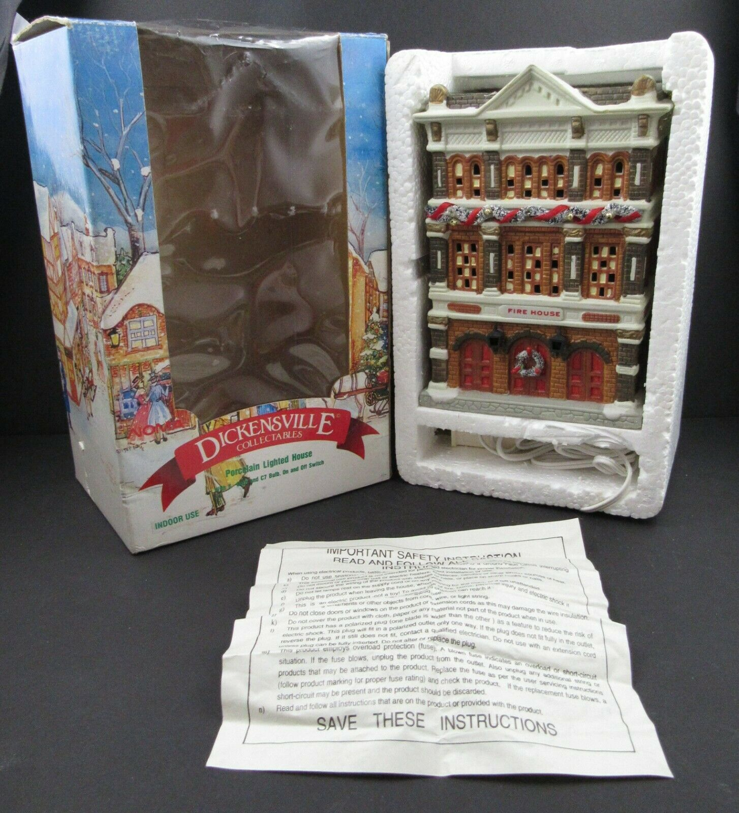 NOMA Dickensville Lighted Porcelain Collection Fire House in Box 28413 - $28.98