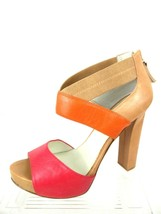 Nine West Stylin Women 8M Leather Multi Color Open Toe Platform Zipper B... - $13.98