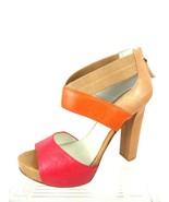 Nine West Stylin Women 8M Leather Multi Color Open Toe Platform Zipper B... - $13.98