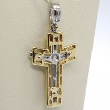 Cross Pendant Gold Yellow White 750 18k, with Christ, shiny and Satin image 4