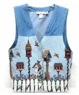 ORVIS Birdhouse Tapestry Vest Medium Blue Jean Denim Button Front Waist ... - $24.14