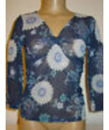 New York & Company Semi Sheer Mesh Blue White Floral Top 3/4 Sleeves-XS-NEW - $9.85