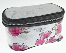 "Victorias Secret ~Train Case~ clear, pink rose cosmetic 8.5""x 4.5""x 4.5"" makeup - $24.14"