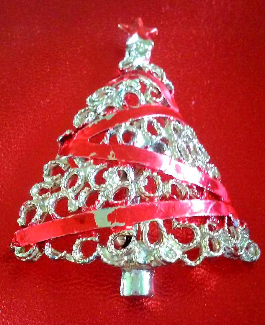 Primary image for STUNNING VINTAGE ESTATE CHRISTMAS TREE WRAPPED IN RED ENAMEL RIBBON PIN BROOCH