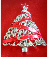 STUNNING VINTAGE ESTATE CHRISTMAS TREE WRAPPED IN RED ENAMEL RIBBON PIN ... - $5.40 CAD
