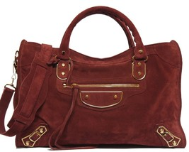 New $2150 Balenciaga Edge City Bois DE Baby Daim Suede Bag - $1,370.04