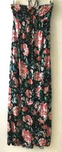 Forever 21 Women's XS Dress Maxi Black Floral Strapless Tie Back Halter ... - $16.96