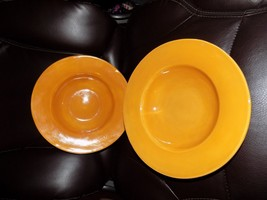 "Pottery Barn Large Rim Soup Bowl in Amber Mustard Yellow 10"" Set of 2 EUC  - $50.00"