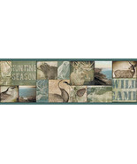 Trumball Wild Game Collage Border Teal Chesapeake Wallcovering TLL01492B - $20.99