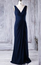 V Neck Long Navy Blue Ruched Zipper Chiffon Bridesmaid Wedding Gown Dres... - $95.00
