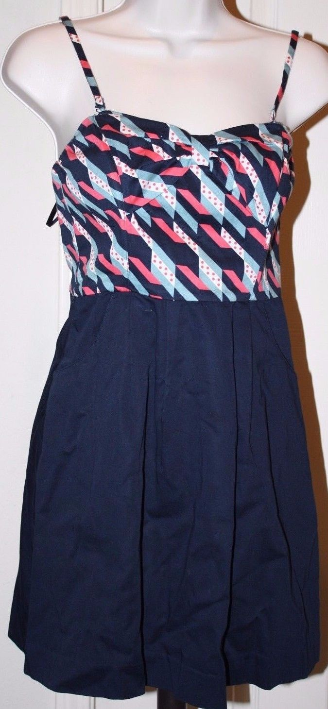 Primary image for Maeve Anthropologie Coral Navy Blue Spaghetti Strap Dress Sz 0 Ruched Front