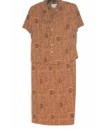Miss Dorby Petites Career Blouse Skirt Dress Set Brown Geometric Designs... - $9.89