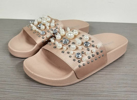 Steve Madden Sandy Embellished Slide Sandal, Blush Satin, Womens Size 6 M - $17.24