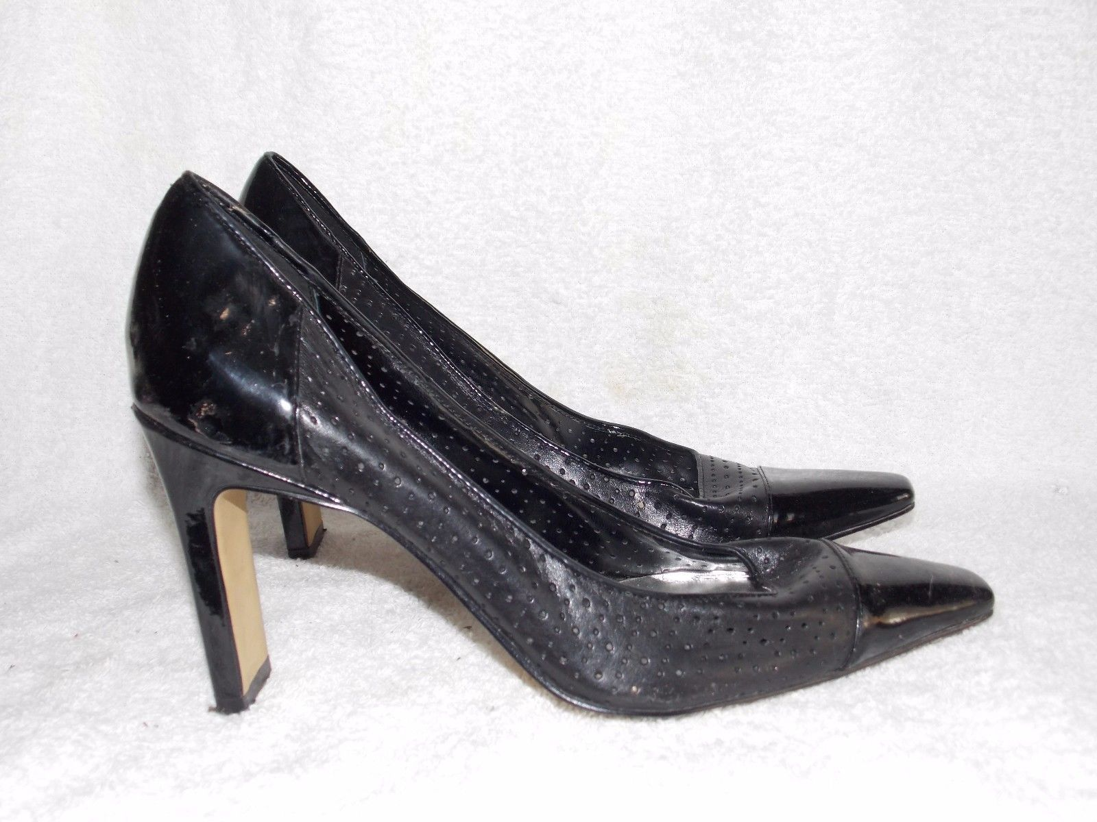 8947718f0 Franco Sarto PUNCHED Black Leather Heels 8M and 23 similar items. S l1600