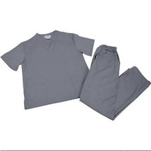 Scrub Set Grey V Neck Top Drawstring Pants 3XL Unisex Medical Natural Uniforms image 2