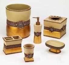 Avanti Linens Braided Medallion 6 Piece Gold Resin Bath Accessory Set - $138.58