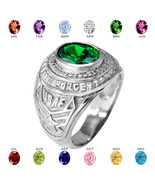 Sterling Silver US AIR FORCE Men's CZ Birthstone Ring - $79.99