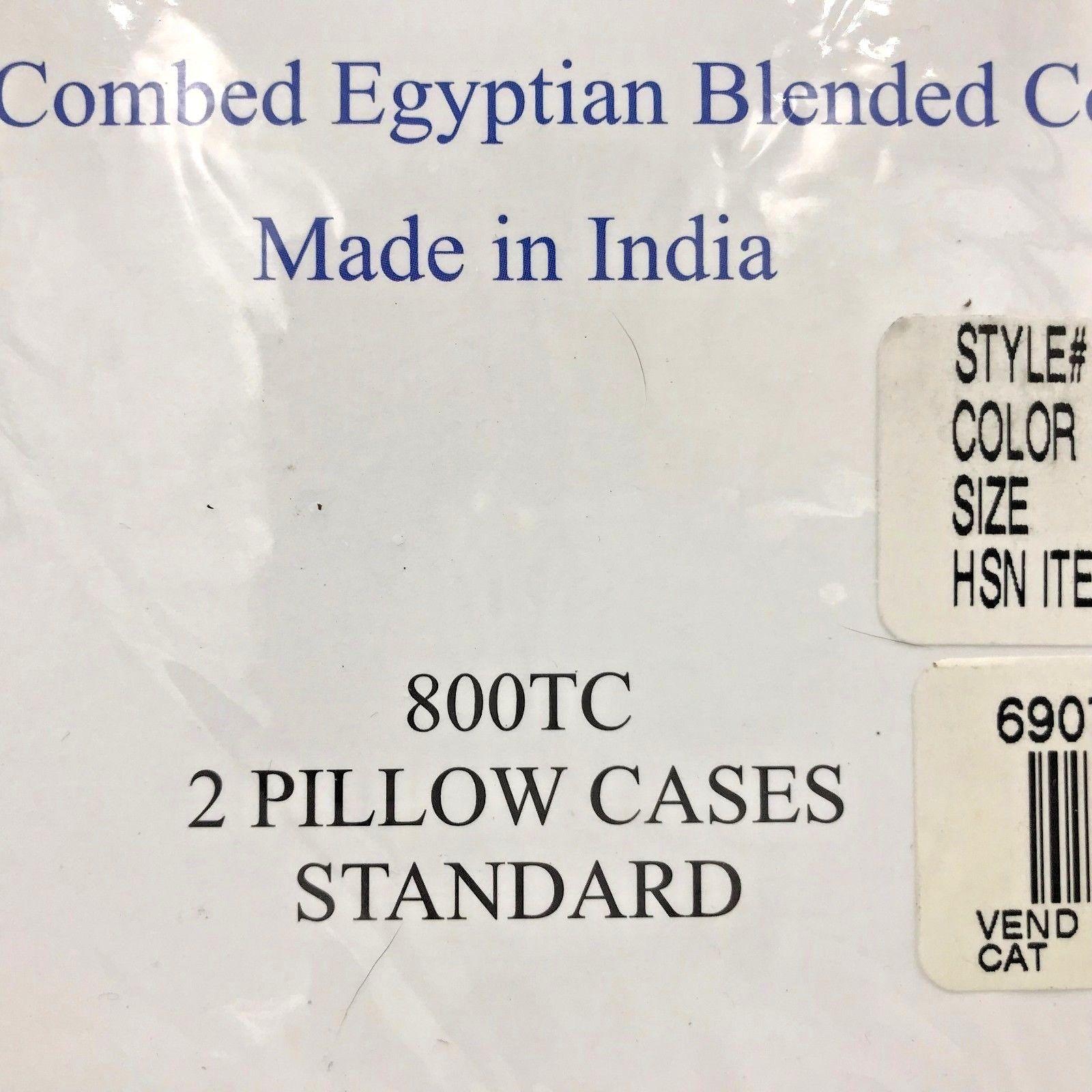 HSN Egyptian Blended Cotton Luxury Sateen Pillowcases Set 2 Stone Beige 800TC K1