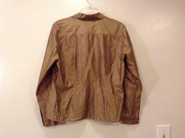 Worthington Women's Petite Size 10 10P Shirt Silk Button Down Top Brown Striped image 2