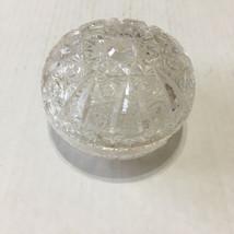 Vintage glass vanity dresser powder jar with glass lid  Hollywood regency  - $32.62