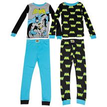 Batman Figure and All Over Symbols Youth 4-Piece Long Sleeve Pajama Set ... - $36.98