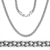 3.2mm Popcorn Italian Link Chain Necklace 14k White Gold 925 Sterling Si... - $49.07+