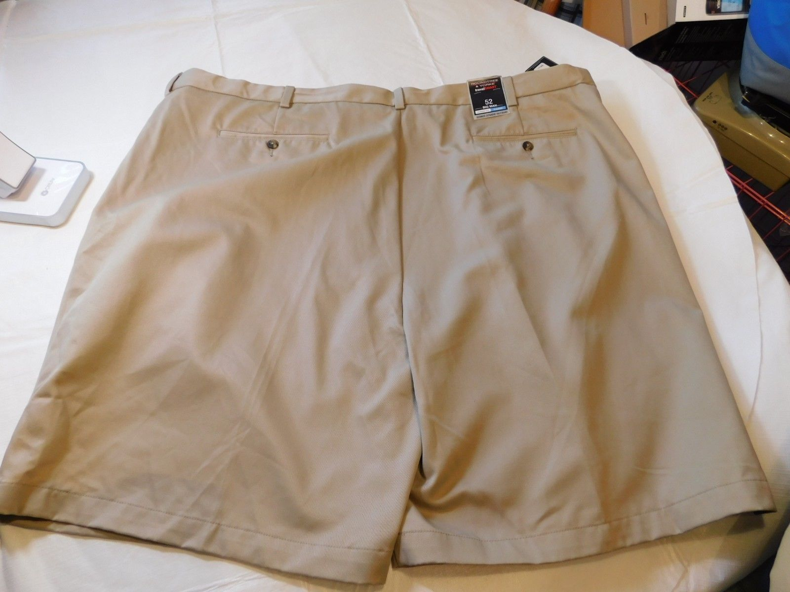 Roundtree & Yorke Easy Care Travel Smart Mens Shorts 52 Big Man Classic Fit Plea