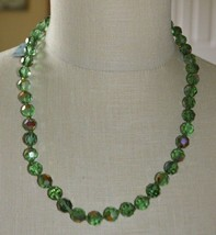 Corocraft Green Aurora Borealis Crystal Bead Rhinestone Necklace with Tags - $89.09