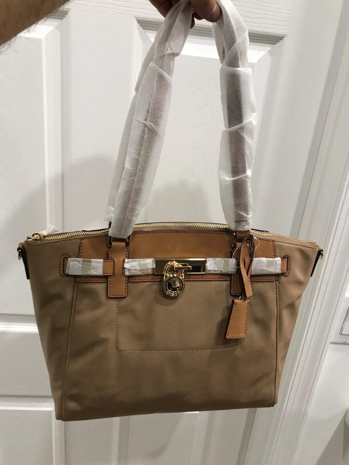 339cb9335065 Michael Kors Hamilton Traveler Large Nylon & Leather Convertible Top Zip  Satchel