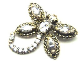 Vintage White Sapphire DragonFly Brooch Pin 925 Sterling Silver Marcasit... - $85.45