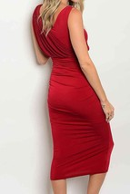 Red Hollywood Dress with Wrap Detailing, Formal Red Party Dress, Red Wrap Dress image 2