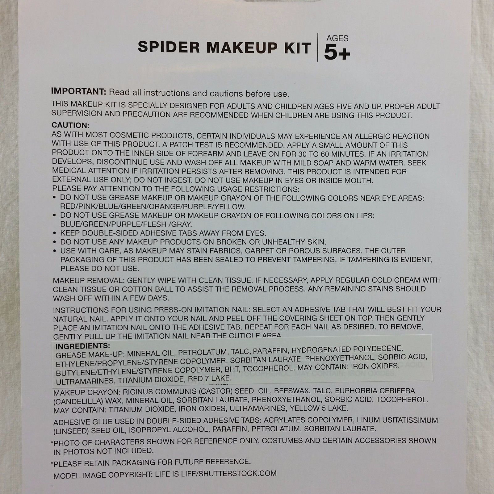 Purple Spider Press On Nails Makeup Kit Crayons Stencils Costume Halloween