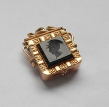 Victorian Gold Filled Intaglio Soldier Black Onyx & Tigereye Pendant Loc... - $95.00