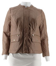 Isaac Mizrahi Lamb Leather Mixed Quilted Barn Jacket Fawn 18W NEW A286123 - $160.36